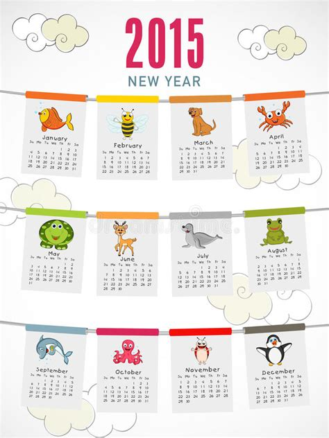 new year 2015 animal happy new year 2015 celebration with yearly calendar