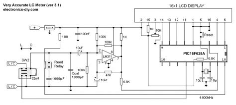 circuit diagram of inductance meter accurate lc meter based on pic16f628a