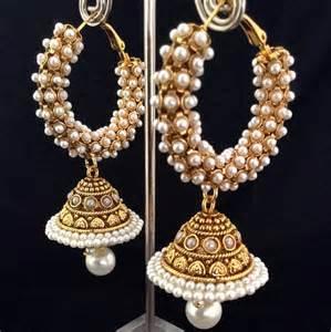 new jhumka earrings buy warm chandni pearls bali hoop south india jhumka india adiva copper earring v788