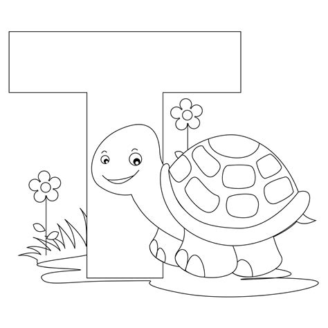 animal alphabet letter t coloring turtle coloring