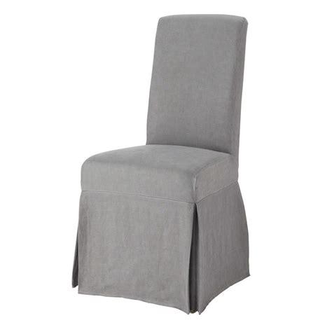 housse de chaise grise housse longue de chaise en lav 233 grise margaux