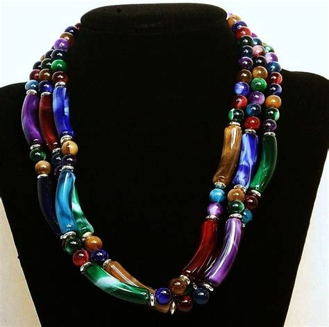 multi coloured bead necklace marbled three strand multi colored beaded necklace