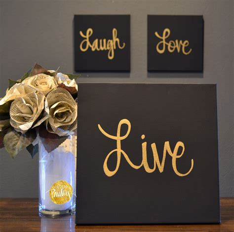 live laugh home decor live laugh black gold 3 wall decor set