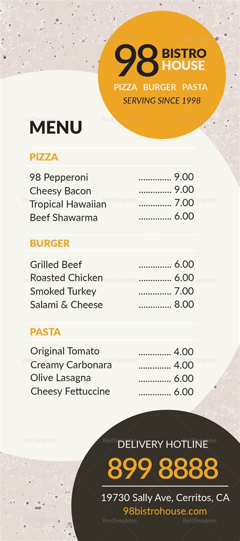 takeaway menu design templates takeaway menu design template in psd word publisher