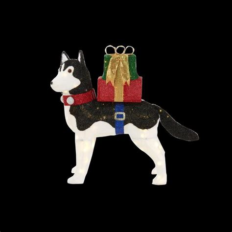 home accents outdoor christmas decorations home accents holiday 42 in led lighted fuzzy husky ty028