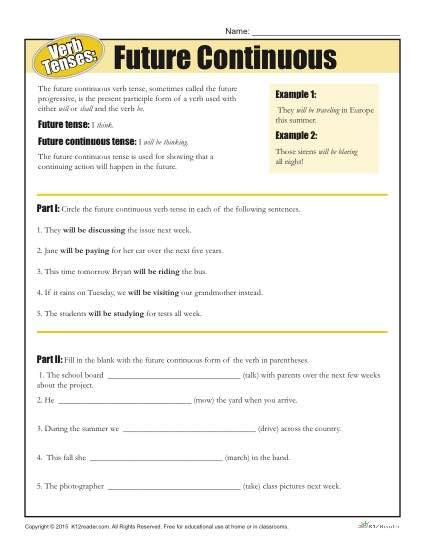 pattern of future continuous tense verb tense worksheets future continuous