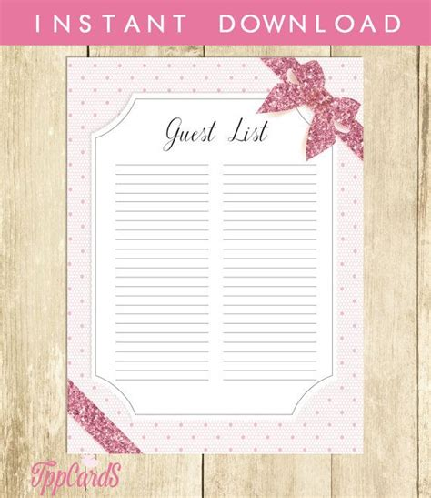 Baby Shower Sign In Sheet Printable by Pink Lace Baby Shower Guest List Lace Baby Shower List