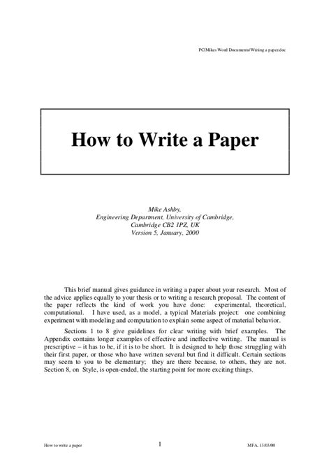 how to write engineering paper how to write a paper