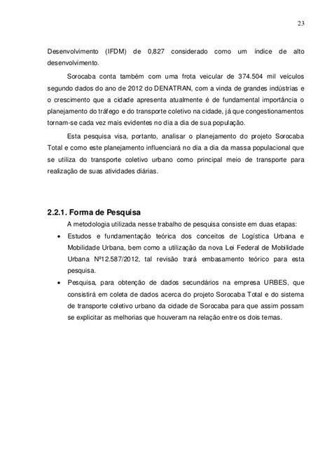 Transporte Urbano - Estudo de Caso Analise das Influencias