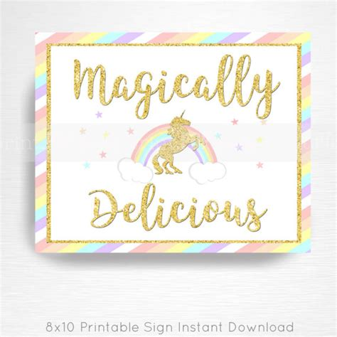 printable unicorn signs magically delicious unicorn rainbow birthday party