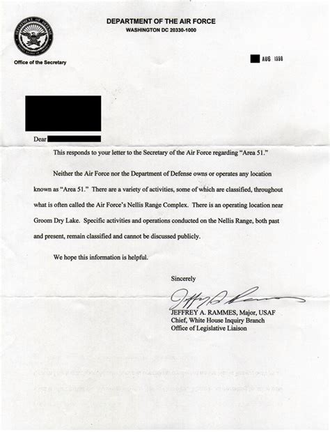 Proof Of Service Letter Navy Roswell La Cia Reconna 238 T Pour La Premi 232 Re Fois L Existence De La Zone 51 Big Browser