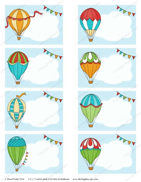 16 best name tags images on pinterest moldings free hot air balloon printable labels colourful balloons cloud