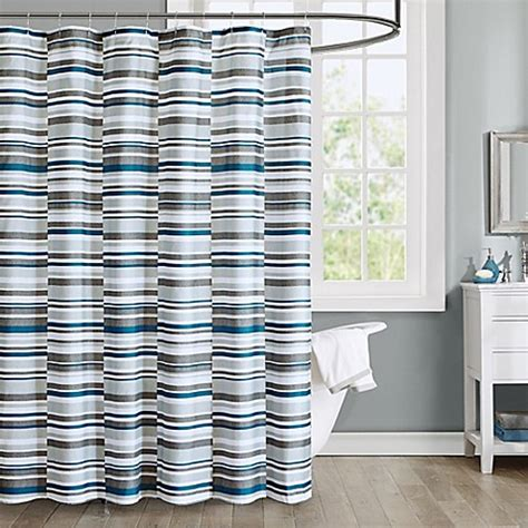 Blue And Grey Shower Curtains Intelligent Design Emmet Printed Shower Curtain In Blue Bed Bath Beyond