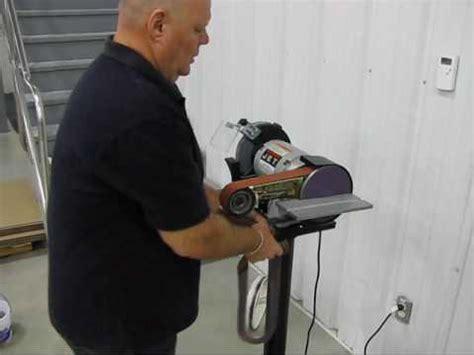 convert bench grinder to belt sander multitool belt grinder demonstration youtube