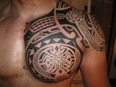 tribal shoulder chest tattoos tribal designs polynesian tribal
