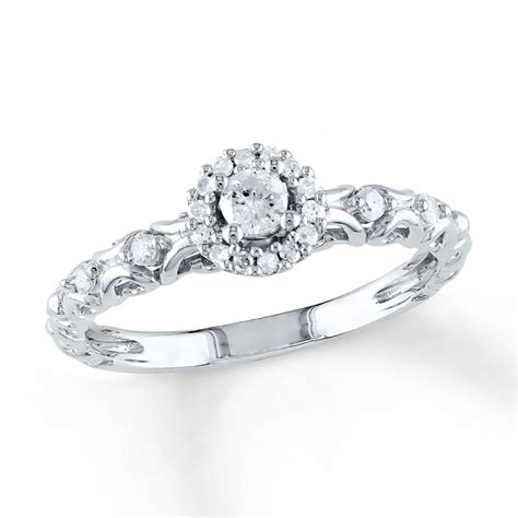 jared promise ring 1 4 ct tw cut sterling