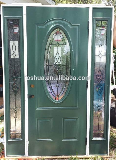 Oval Glass Insert For Front Door by Leaded Glass Front Exterior Entry Door With Sidelites