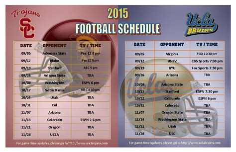 Usc Mba Schedule For Fall by Usc Ucla 2015 Fall Football Schedule