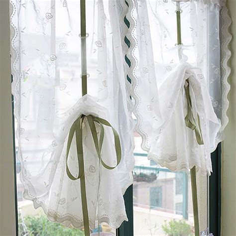 rose embroidery sheer pull  curtain