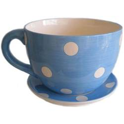 blue and white spot tea cup and saucer planter