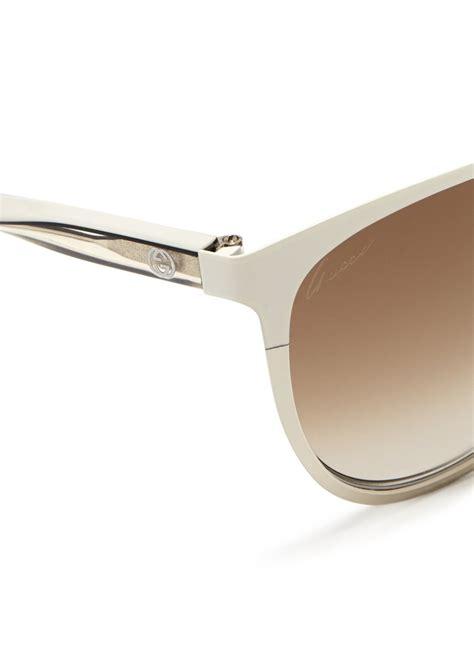 9885 3 Gucci 3 In 1 lyst gucci twist temple two tone metal sunglasses in white