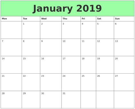 Calendar 2019 Printable January 2019 Printable Calendars