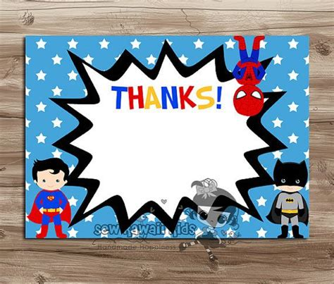 pre made blank superheroes thank you card coordinates w