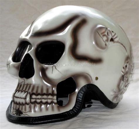 Motorradhelm Totenkopf by Fullface Skull Skeleton Death Ghost Rider White Motorcycle