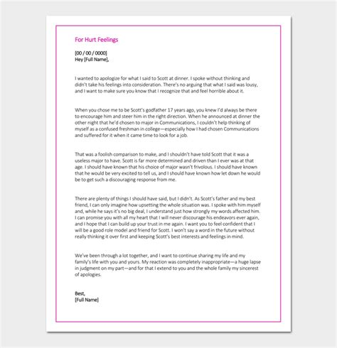 letter to a that hurt you apology letter template 33 sles exles formats