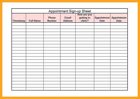 appointment sheet template word excellent free appointment template pictures inspiration