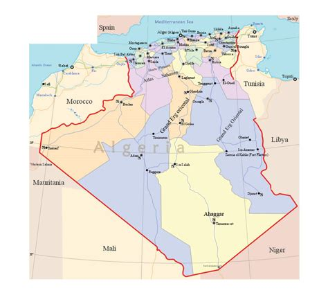 algeria map with cities detailed political and administrative map of algeria with