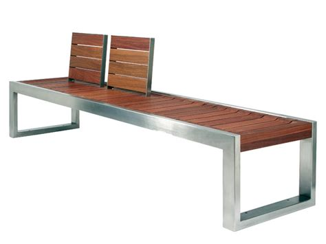 steel and wood bench skop bench with back by factory street furniture