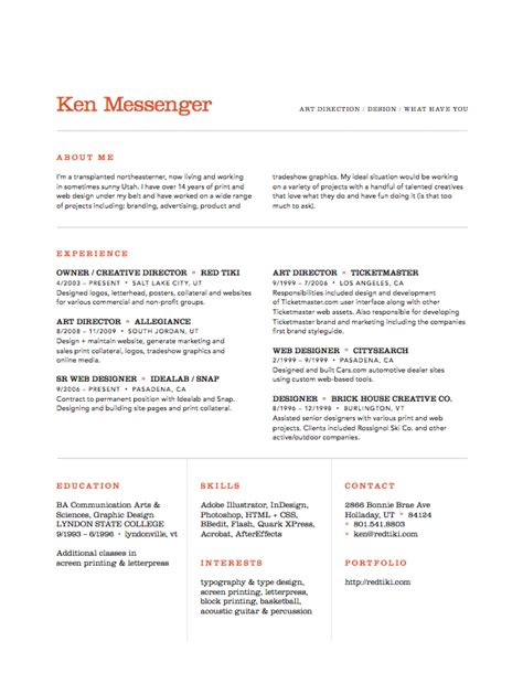 Resume Sles Creative Director Ken Messenger Director