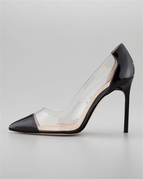 Manolo Blahnik Does Clear Heels by Lyst Manolo Blahnik Pacha Clear Pvcpatent In Black