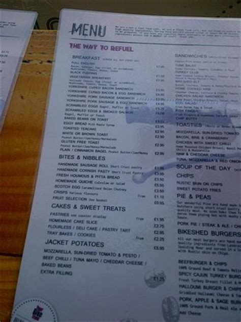 Shed Menu by Cafe Area Picture Of Your Bike Shed York Tripadvisor