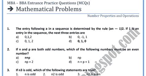 Mba Math Test by Adamjee Coaching Mathematical Problems Entrance