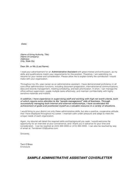 cover letter format for assistant 2018 administrative assistant cover letter exles