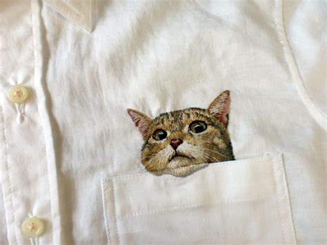 Cat Embroidery Shirt artist hiroko kubota embroiders popular cats on