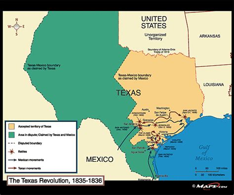 map of the texas revolution map of texas in 1836