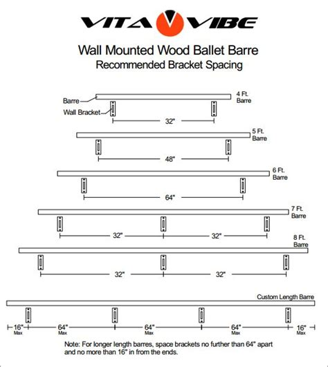 wall mounted wood ballet barre recommended bracket spacing