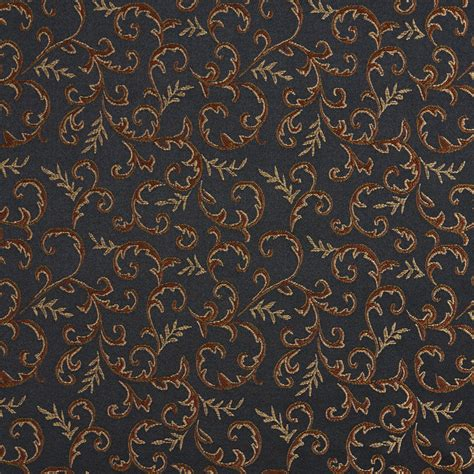 onyx beige  black abstract floral vine damask