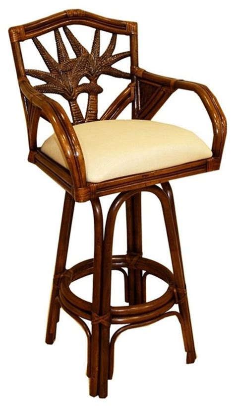 tropical style bar stools indoor swivel rattan wicker counter stool with cushion
