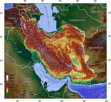 middle east map topographical map of iran topographic map weltkarte karten und