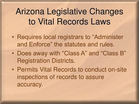 Arizona Vital Records Certificate Ppt Arizona Legislative Changes To Vital Records Laws Powerpoint Presentation Id