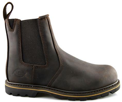 mens dealer work boots mens dickies leather dealer chelsea slip on safety ankle