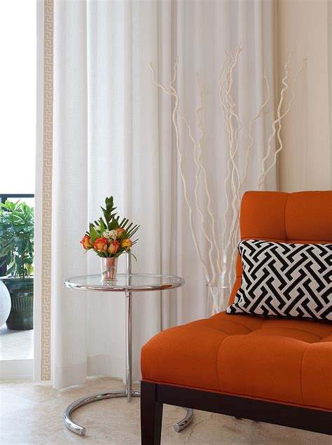 Contemporary Orange Curtains Designs Orange And Black Interiors Living Rooms Bedrooms And Kitchens
