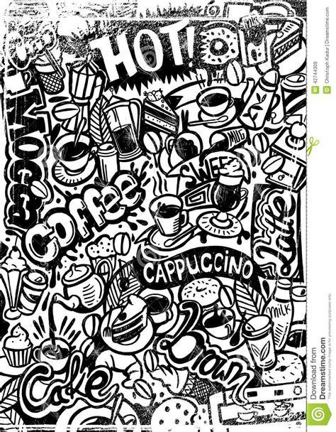 doodle digital digital painted coffee doodle stock illustration image