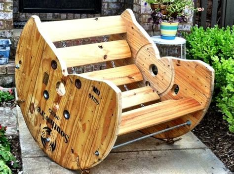 Cable Reel Rocking Chair by Wooden Spool Rocking Chair Restoring
