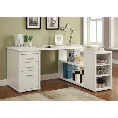 coaster yvette l shaped computer desk in white 800516ii