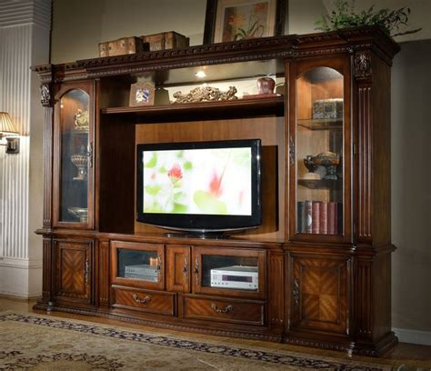 glass doors for entertainment wall 4 pc florenza collection wood finish tv entertainment